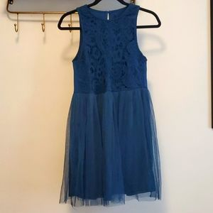 Teal lace and tile short dress size small